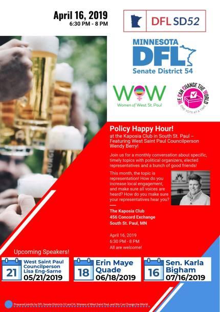 Policy Happy Hour! @ Kaposia Club