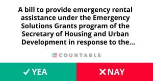 H. R. 6820, To provide emergency rental assistance under the Emergency Solutions Grants program of the Secretary of Housing and Urban Development in response to the public health emergency resulting from the coronavirus, and for other purposes.