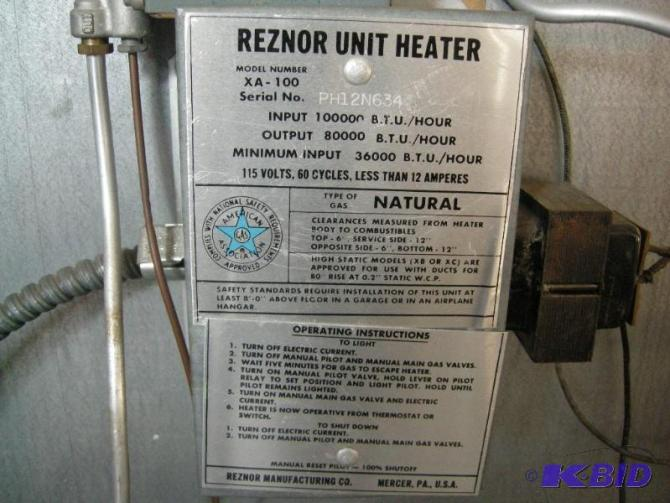 reznor unit heater  heaters snowblowers nice tools new