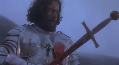 Perceval entrega Excalibur a la Dama del Lago
