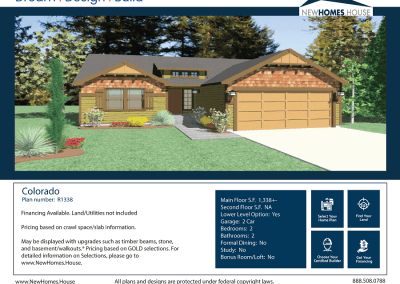 Colorado 1,338 s.f. Homeplan from CDAhomeplans.com