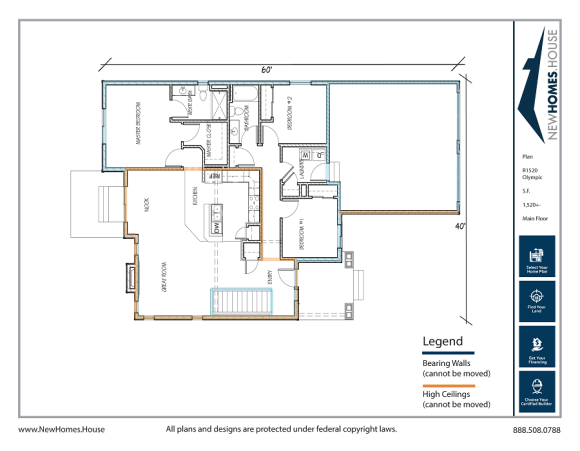 Olympic single story home plan from CDAhomeplans.com Main Floor Page