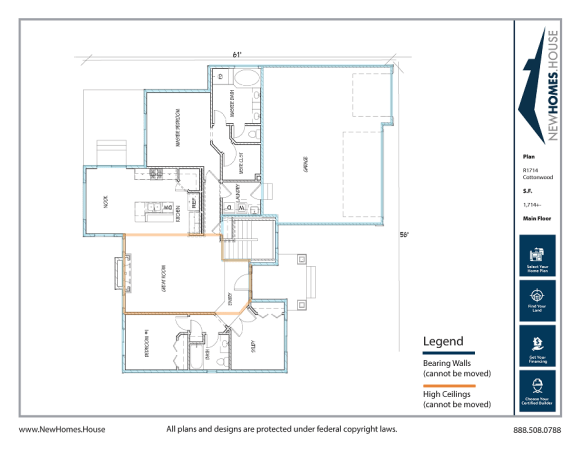 Cottonwood single story home plan from CDAhomeplans.com Main Floor Page