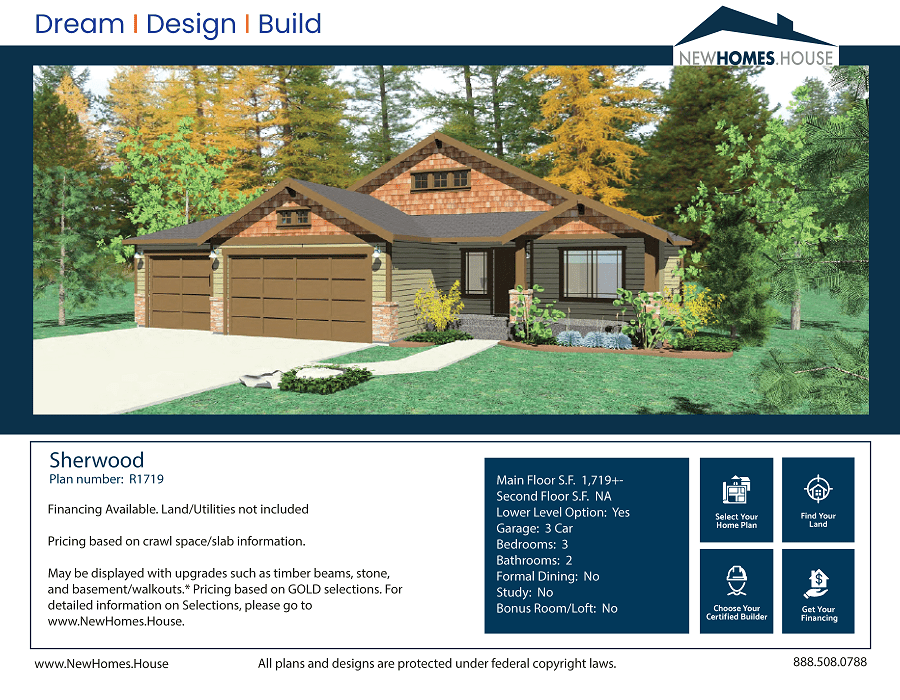 Sherwood single story home plan from CDAhomeplans.com Elevation Page