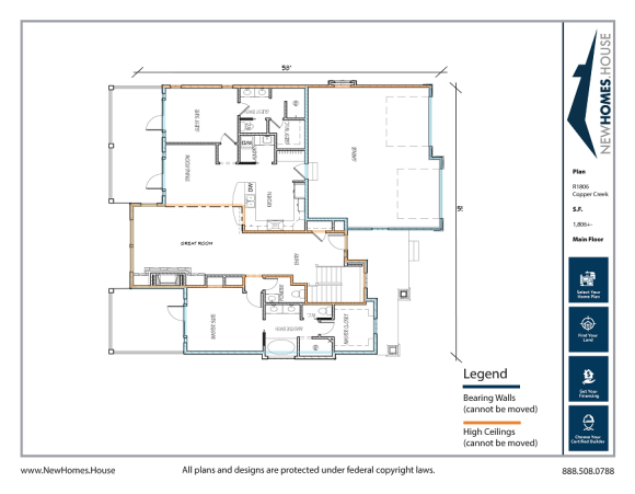 Copper Creek single story home plan from CDAhomeplans.com Main Floor Page