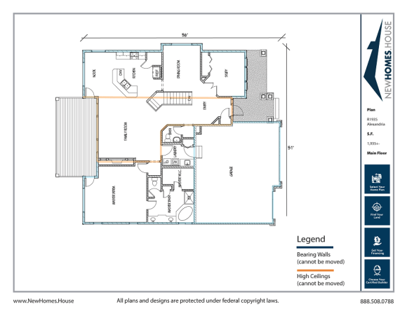 Alexandria single story home plan from CDAhomeplans.com Main Floor Page