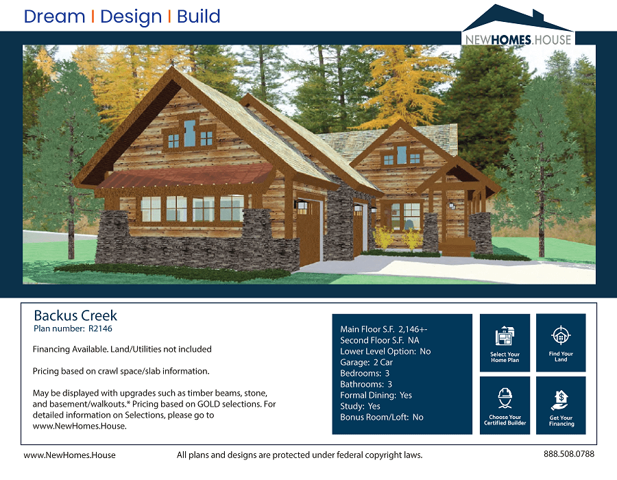 Backus Creek single story home plan from CDAhomeplans.com Elevation Page