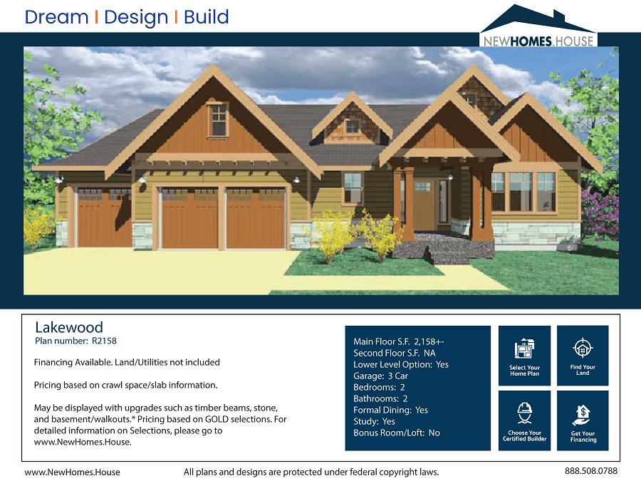 Lakewood single story home plan from CDAhomeplans.com Elevation Page