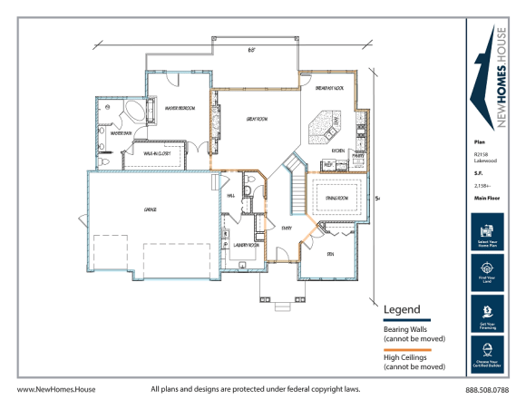 Lakewood single story home plan from CDAhomeplans.com Main Floor Page