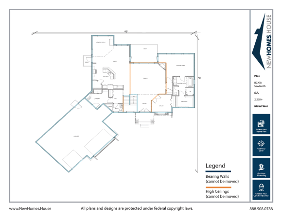 Sawtooth single story home plan from CDAhomeplans.com Main Floor Page