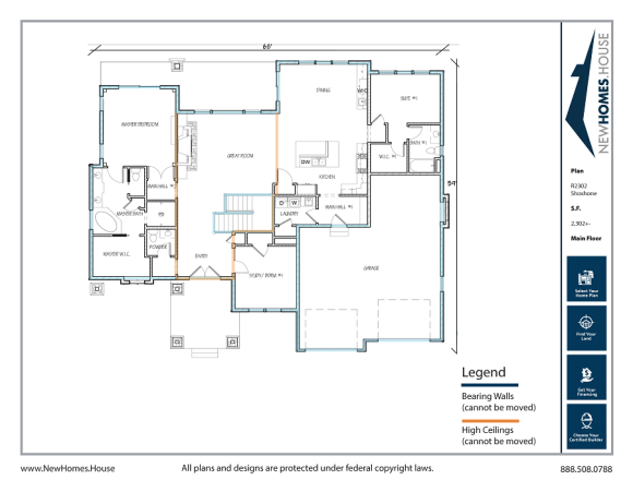 Shoshone single story home plan from CDAhomeplans.com Main Floor Page