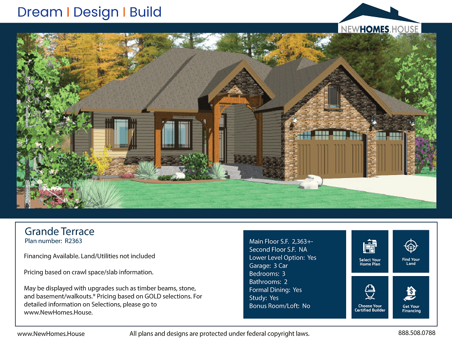 Grand Terrace single story home plan from CDAhomeplans.com Elevation Page