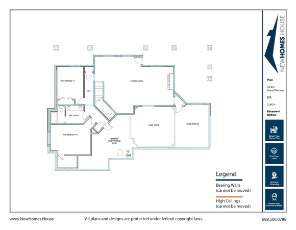 Grand Terrace single story home plan from CDAhomeplans.com Optional Lower Level Page