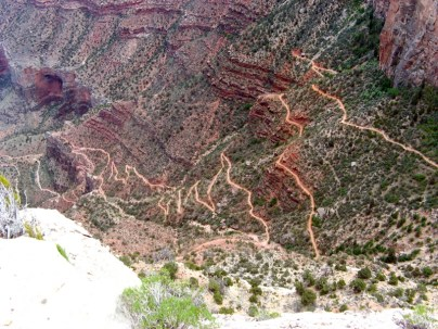 The last three miles of the Bright Angel Trail make several switchbacks before gaining the Rim.