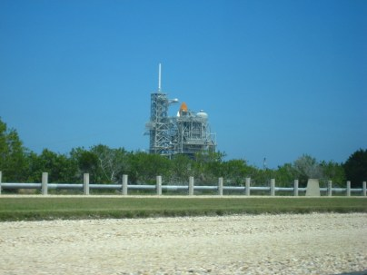 This is the best view the regular tourists get of Pad 39A from about a mile away.