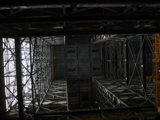 Inside the VAB, looking up at the ceiling 525' above. I wonder if it's ever been B.A.S.E. jumped?