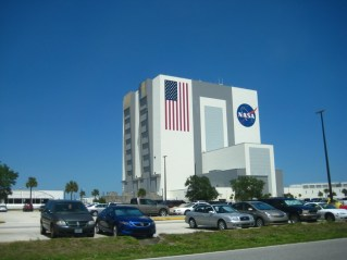 The VAB from the outside. The blue area of the flag is the size of a basketball court and the stars are as tall as I am. Those big doors on the side only open half way to let fully-assembled Space Shuttle stacks in and out.