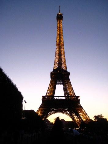 Eiffel Tower at 10pm. It was just getting dark.