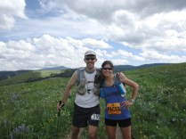 Mile 89: Kate and I at the top of the hill before the descent from hell.