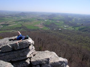 Napping at the Pinnacle, Day 3. Check out the turkey vulture flying on the left side. I smelled bad enough, perhaps they thought I was dead.