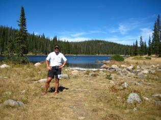 Jay at Fishhook Lake: mile 34 of his first ultra.
