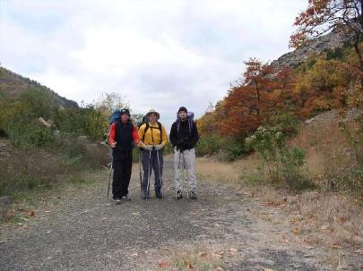 Dave, Mike and myself at the Lehigh Gap Trailhead, 16 miles 'til dinner!