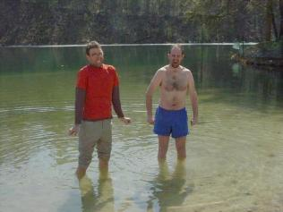 Tom and I learn the hard way that it is definitely too cold to swim. Yes, that's ice on the far side of the pond.