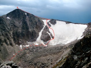 Our route from the Moraine to the summit. Having the bright red line there really helped with route-finding!