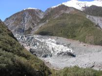 The down-hill end of the Fox Glacier.