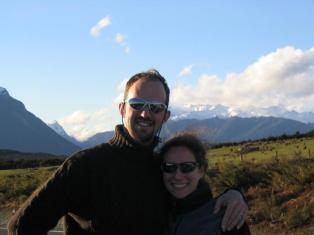 The happy couple on the way back to Te Anau from Milford Sound.