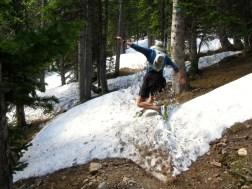 Mile 533: June 7th, Sourdough Trail. Ben demonstrates proper falling technique on the Sourdough snowpack.
