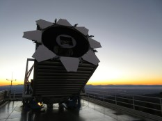 The famous SDSS telescope opens for the evening.