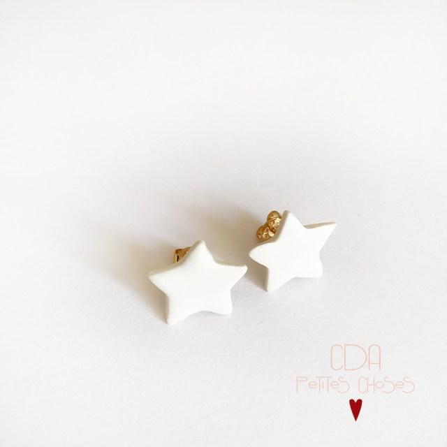 Boucles d'oreilles puces étoiles en porcelaine CDA Petites Choses