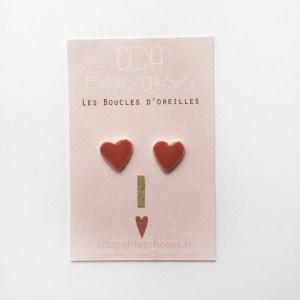 Boucles d'oreilles puces en porcelaine coeurs rouges CDA Petites Choses