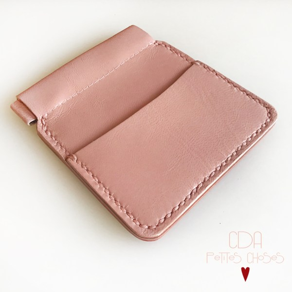 Porte-monnaie clic-clac en cuir vieux rose