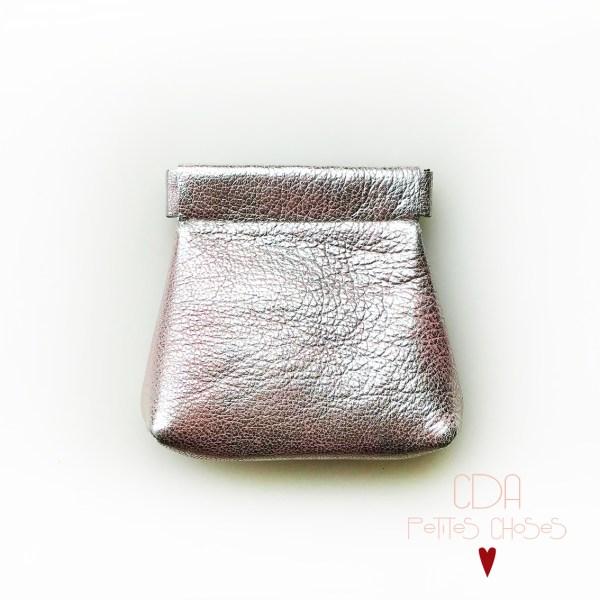 porte-monnaie-clic-clac-a-soufflets-rose-argente CDA Petites Choses