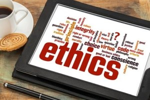 ethics word cloud on digital tablet
