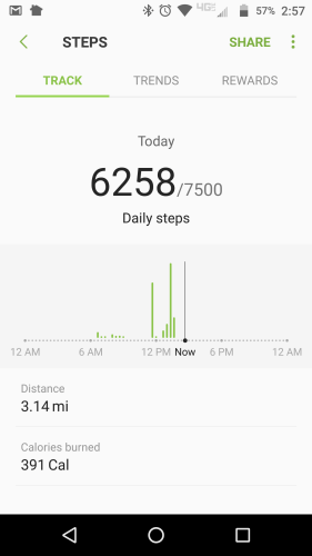 Samsung Health Mid-Day Steps, walking it off, weight