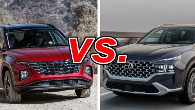 There are few options, only the single engine choice, but there's a lot of tech, a lot of refinement and a. Hyundai Tucson Vs Hyundai Santa Fe Carsdirect