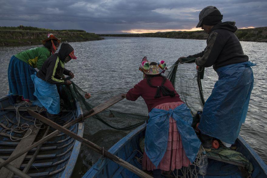 La familia Ávila pesca en el Río Coata, que desemboca en el lago Titicaca. El agua de alcantarillado no tratada drena de dos docenas de ciudades cercanas, y las minas ilegales de oro en los Andes depositan hasta 15 toneladas de mercurio al año en el río, las cuales terminan en lago. (Foto: AP/Rodrigo Abd)