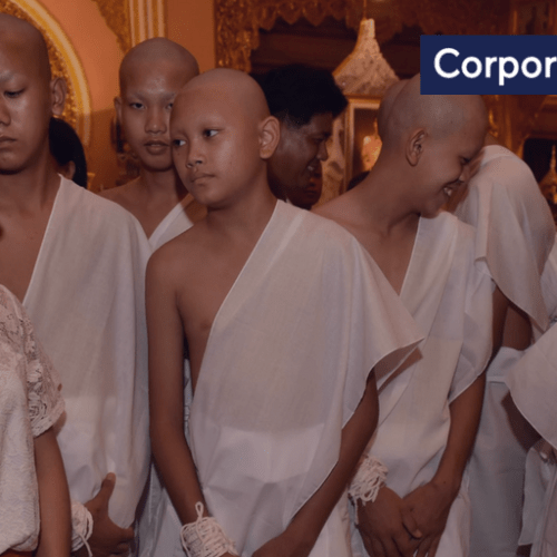 Eleven members of the Thai rescued team take first steps to become Buddhist novices