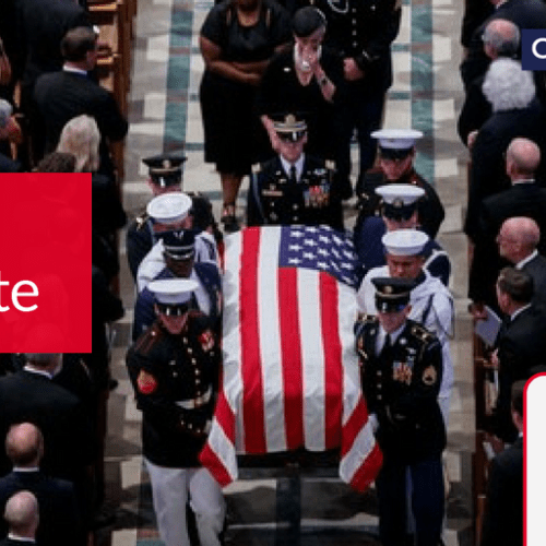 John McCain laid to rest as message loaded memorial service brings to fore differences between what was and is US politics today