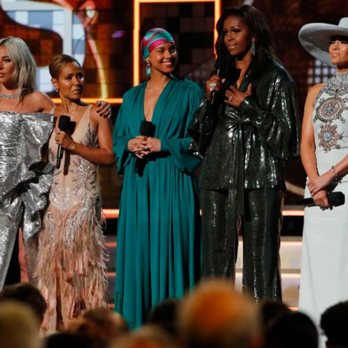 Michelle Obama, Lady Gaga and Alicia Keys stars during Grammy Awards opening ceremony