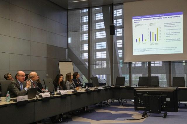 ECB vice president Luis de Guindos' presser in Frankfurt am Main