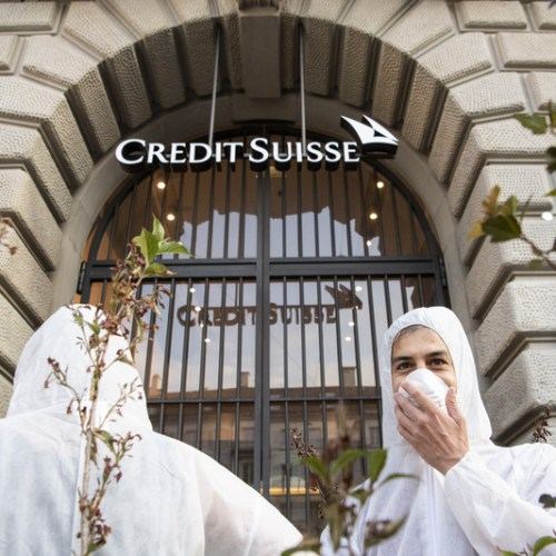 Photo Story: Climate activists block Swiss bank Credit Suisse in Basel