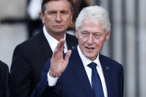 US former president Bill Clinton (R) attends a memorial service for French former President Jacques Chirac, at the Church of Saint-Sulpice in Paris, France, 30 September 2019. EPA-EFE/IAN LANGSDON