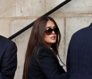 Mexican actress Salma Hayek attends a memorial service for French former President Jacques Chirac, at the Church of Saint-Sulpice in Paris. EPA-EFE/IAN LANGSDON