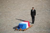 French President Emmanuel Macron stands near the coffin of French former President Jacques Chirac