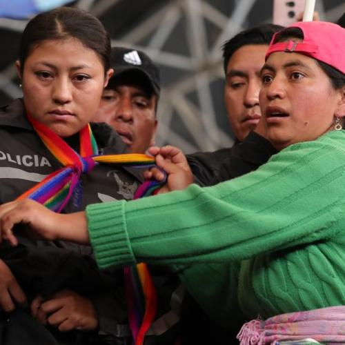 Ecuador protesters take eight police officers hostage