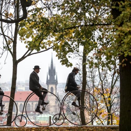 Photo Story: High-wheel bicyclists gather for Prague Mile race